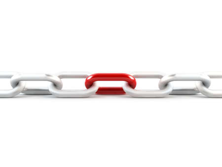 chain link: Metal chain link, 1 red link