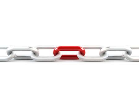 in ketten: Metall Kettenglied, 1 rote Link Lizenzfreie Bilder
