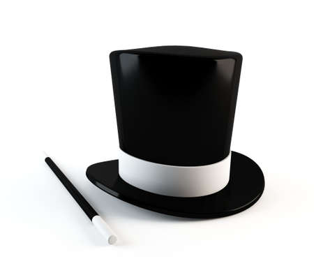 magical equipment: Magician s hat and wand