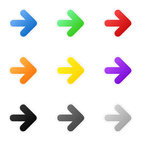 arrow right icon: Set of colorful arrows Stock Photo