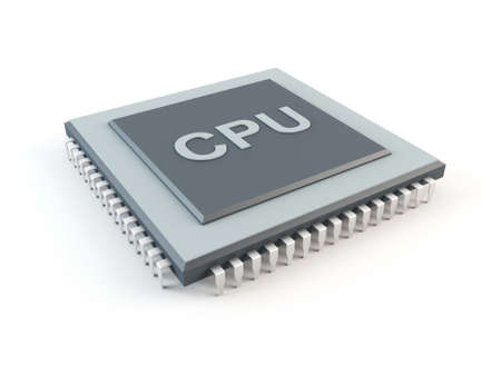 central square: Computer CPU isolated on white
