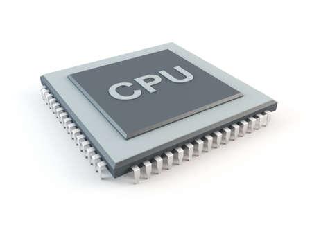 feldolgozás: Számítógép CPU, elszigetelt, fehér Stock fotó