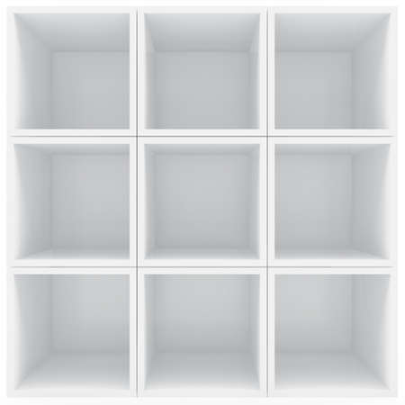 expansive: White shelves Stock Photo