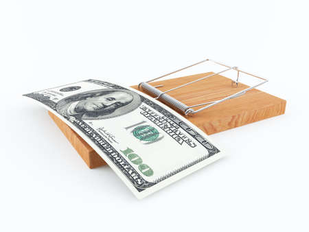 trap: Mouse trap with a 100 dollars bill Stock Photo