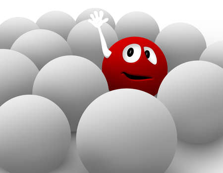 isolation: 3D red smiley trying to get noticed