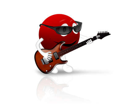 smiley: 3D red smiley playing an electric guitar