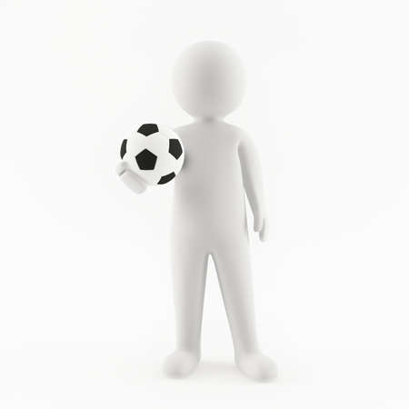 soccerball: 3D man holding a soccerball in his hand