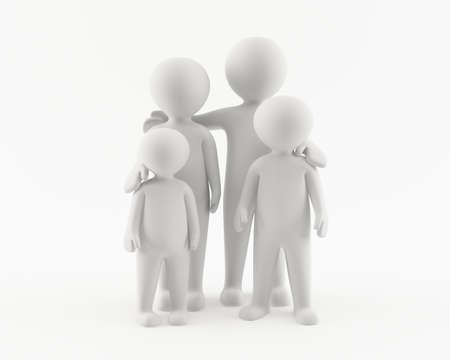 3D man met familie Stockfoto