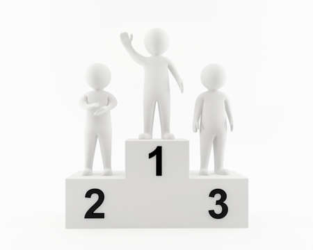1 person: 3D people on the winners podium Stock Photo