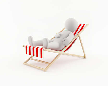 3D man relaxing in a beach chair Stock Photo