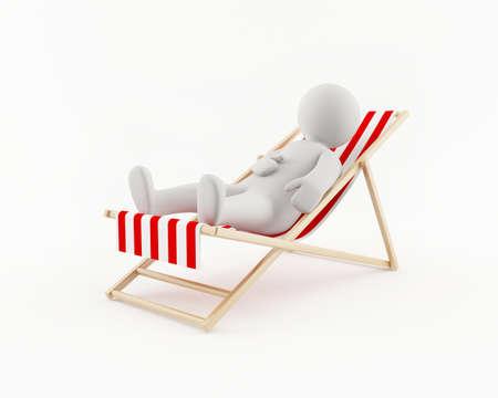 recliner: 3D man relaxing in a beach chair Stock Photo