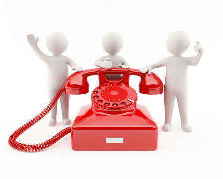 3D people with a red telephone  Contact us concept