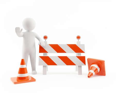 dangerous construction: 3D man in an under construction zone