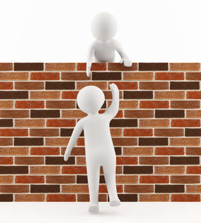 3D man helping a friend jump over the wall Stock Photo - 13549122