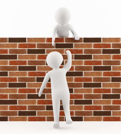 trespass: 3D man helping a friend jump over the wall