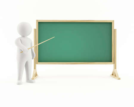 3D man pointing at a chalkboard Stock Photo
