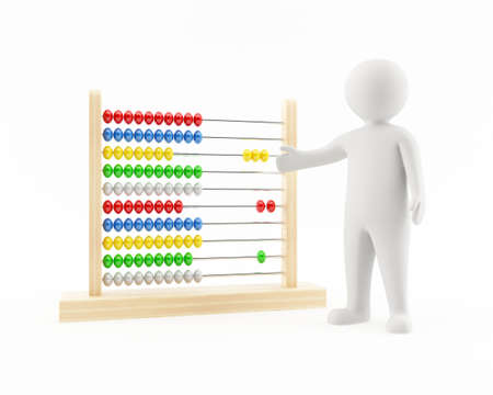 cartoon math: 3D man pointing at an abacus