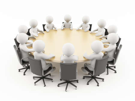 3D people sitting in a business meeting Stock Photo