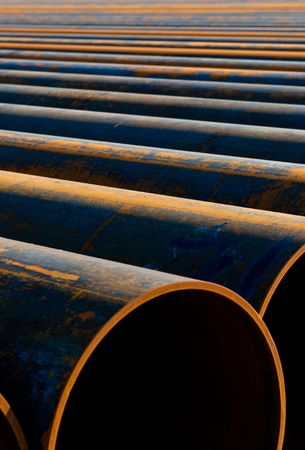 metal pipes laid out in a row for instalation Stock Photo - 6689630