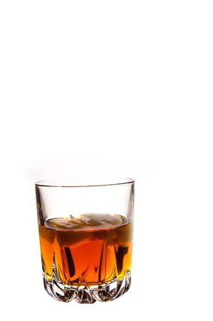 glass of whiskey isolated on white photo