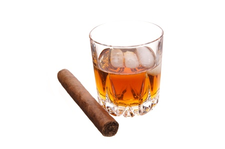 glass of whiskey and cigar photo