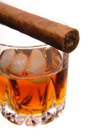 cigar and glass of whiskey photo