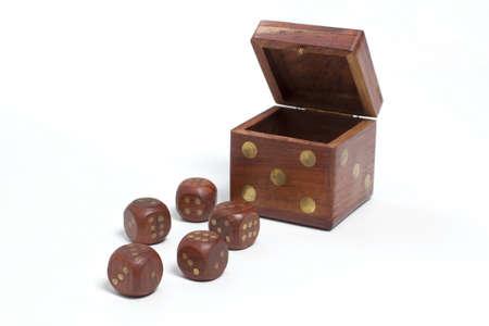Wooden dice holder 版權商用圖片