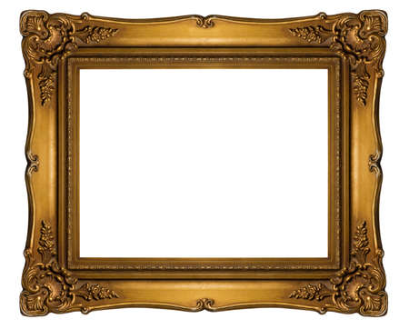 Antique golden frame isolated on white background, Clipping path included (outside and inside) 版權商用圖片 - 39294902