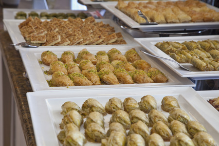 turkish dessert: Turkish dessert baklava open buffet