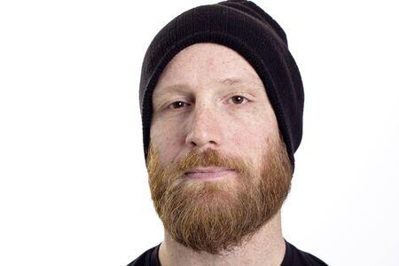 burgler: criminal burgler beard and black hat isolated on white background Stock Photo