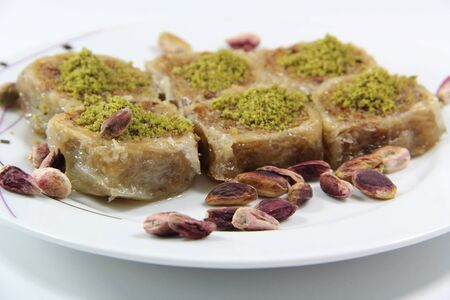 turkish dessert: Turkish dessert baklava isolated on white background Stock Photo