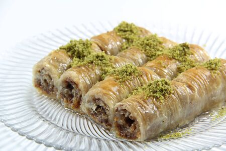 turkish dessert: Turkish dessert baklava isolated on white background Stock Photo