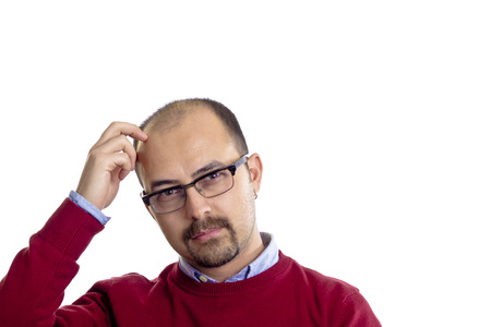 bald man scratching his head isolated on white background