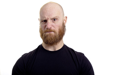 half face: bald angry man with red beard isolated on white background