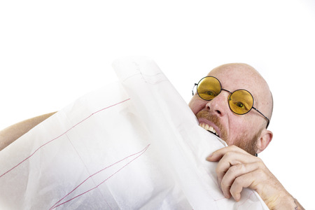 too much work: Man at work gets crazy, too much work isolated on white