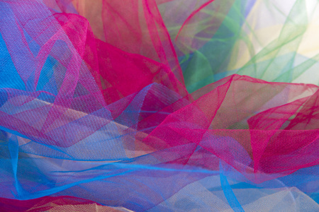 tulle fabric colorful isolated on white background
