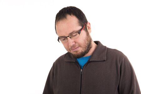 pathetic: sad man isolated on background