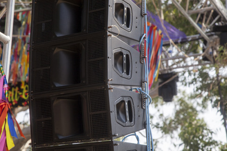 music speakers on stage at festival Stock Photo