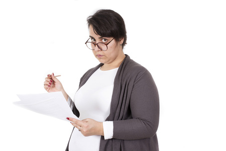 teacher correcting exam isolated on white background
