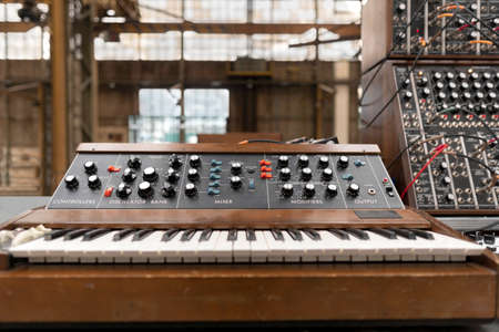 Vintage dj equipment for concert, party and event. Keyboard on stage.