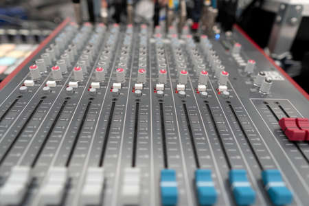 Sound mixing desk. Sound check for concert, mixer control. Music mixer control panel.
