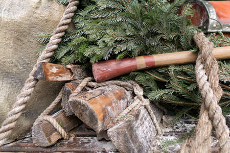 Wood, rope, tree mix lumberjack equipment background. Stock Photo
