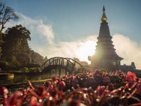 sun rise view to Phra Maha Dhatu Nabhamethanidol and Nabhapolbhumisiri,The Great Holy Relics Pagoda,Inthanon,Chiangmai,Thailand traveling