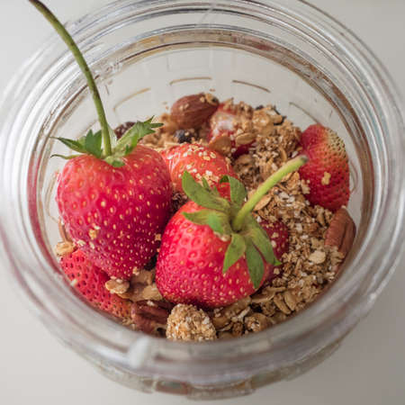 strawberry and granola with yogurt the healthy breakfast