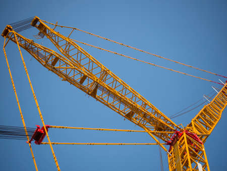 sling line and derrick of crane with clear sky