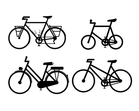 Bicycle Sign icons. Vector illustration set 2