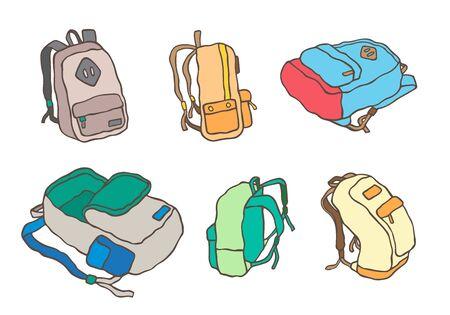 school backpacks set. Travel Education and study back to school, schoolbag luggage, rucksack illustration