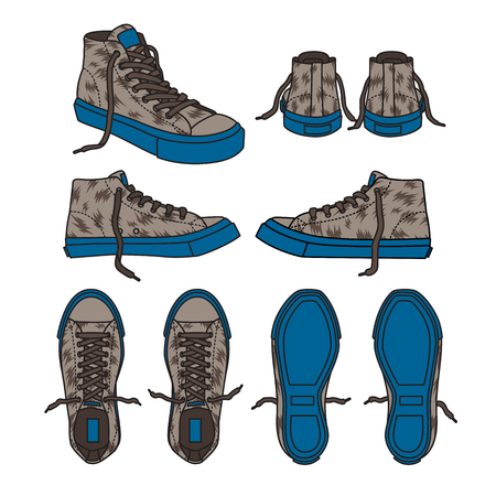 Sneakers blue Illustrations camouflage.