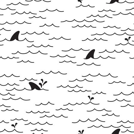 Shark Fin Dolphin Ocean Sea Seamless Pattern / wallpaper Background Vettoriali