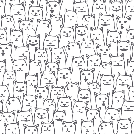 Cat kitten breed doodle Vector Seamless Pattern isolated wallpaper background white Illusztráció